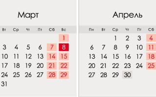 Березень 2020 року в Росії: календар, свята, вихідні, як відпочиваємо